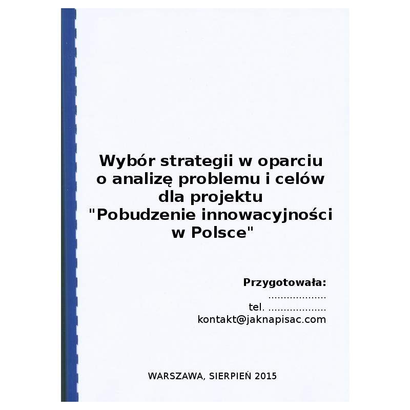 """Wybór strategii w oparciu o analizę problemu i celów dla projektu """"Pobudzenie innowacyjności w Polsce"""""""