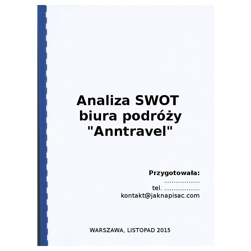 """Analiza SWOT biura podróży """"Anntravel"""" - okładka"""