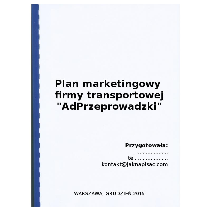 Plan marketingowy firmy transportowej AdPrzeprowadzki