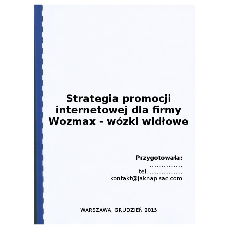 Strategia promocji internetowej dla firmy Wozmax - wózki widłowe