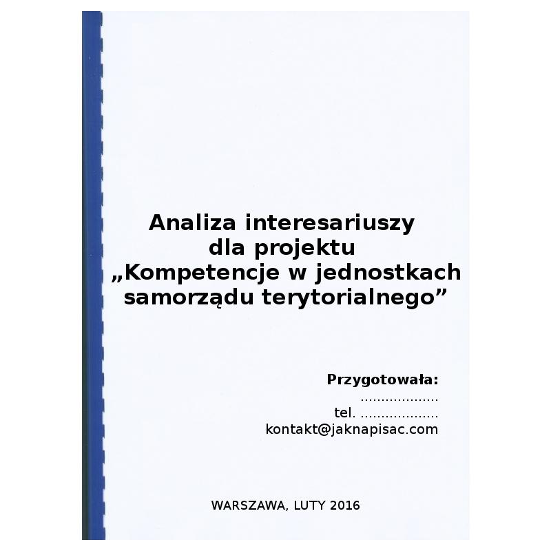"""Analiza interesariuszy dla projektu """"Kompetencje w jednostkach samorządu terytorialnego"""""""