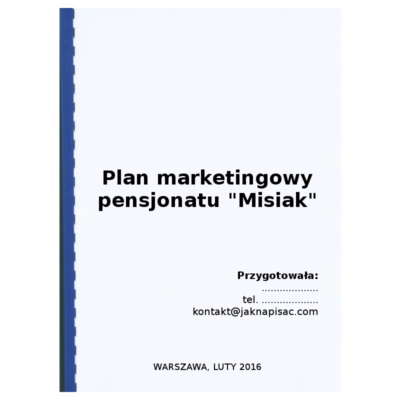 "Plan marketingowy pensjonatu ""Misiak"""