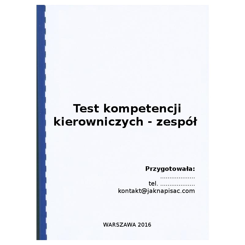 Test kompetencyjny: Test kompetencji kierowniczych - zespół