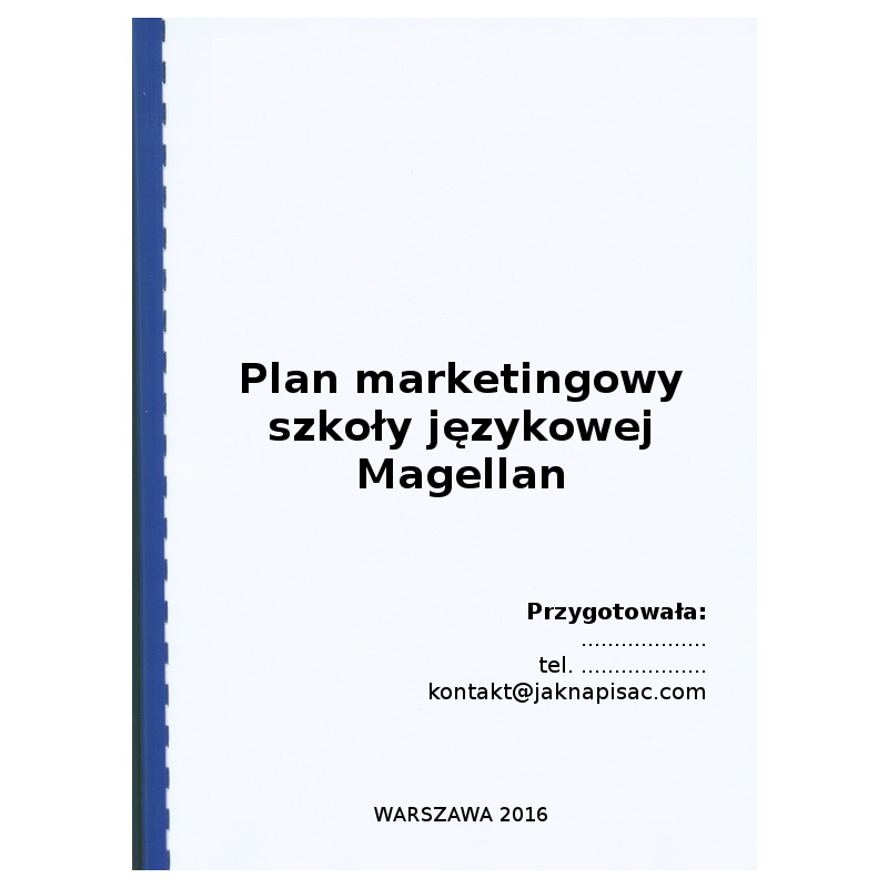 Plan marketingowy szkoły językowej Magellan