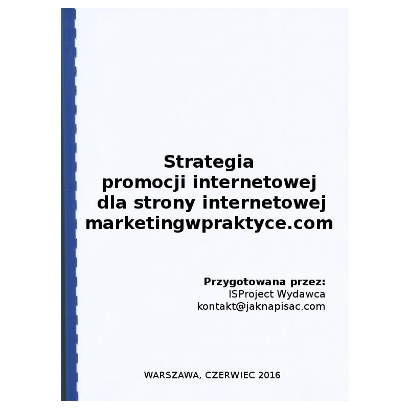 Strategia promocji internetowej dla strony internetowej marketingwpraktyce.com