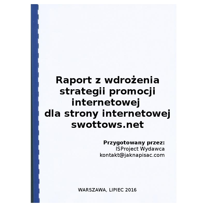 Raport z wdrożenia strategii promocji internetowej dla strony internetowej