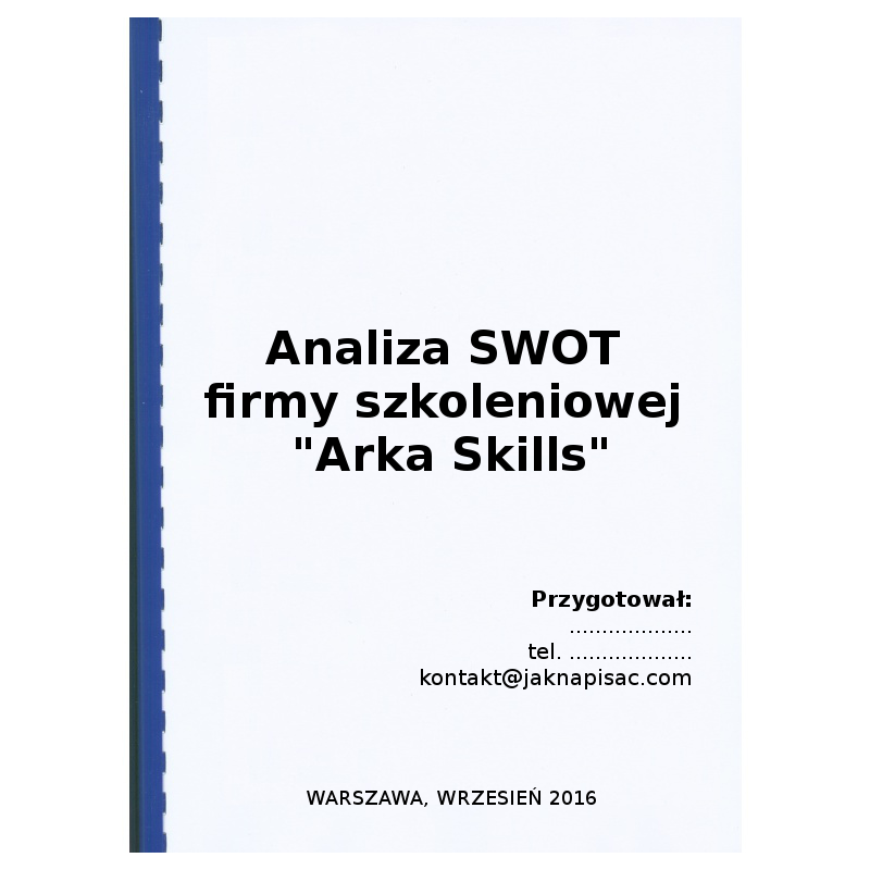 """Analiza SWOT firmy szkoleniowej """"Arka Skills"""""""
