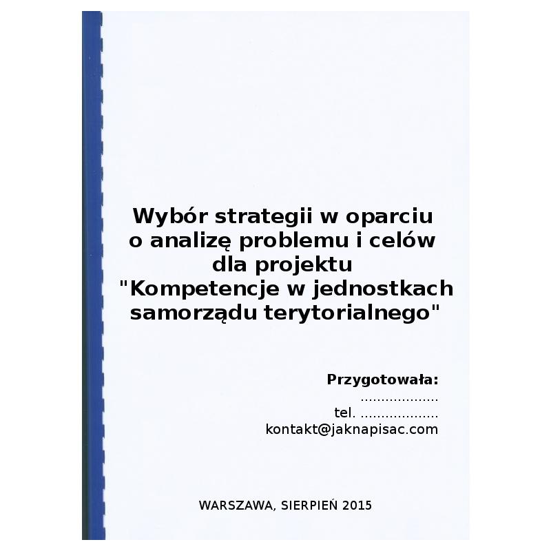 """Wybór strategii w oparciu o analizę problemu i celów dla projektu """"Kompetencje w jednostkach samorządu terytorialnego"""""""