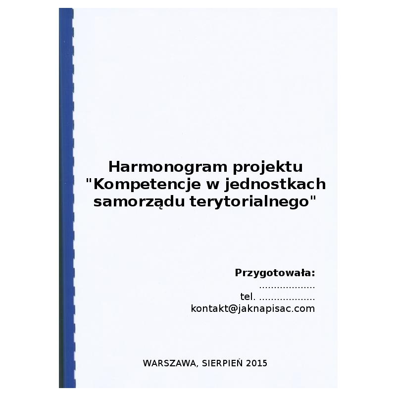 """Harmonogram projektu """"Kompetencje w jednostkach samorządu terytorialnego"""""""