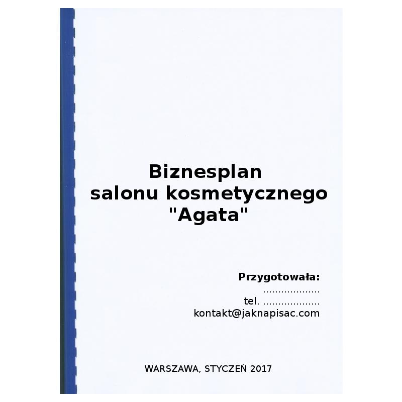 "Biznesplan salonu kosmetycznego ""Agata"""