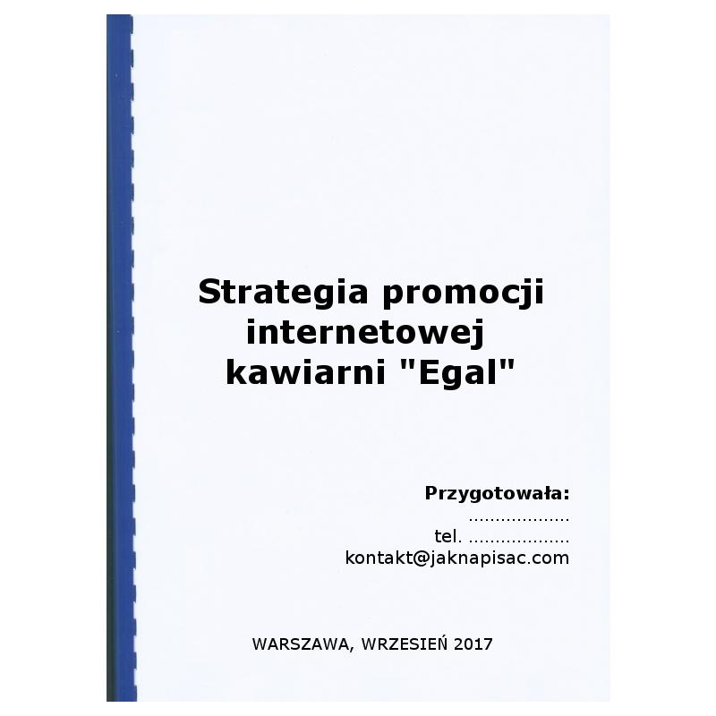 "Strategia promocji internetowej kawiarni ""Egal"""
