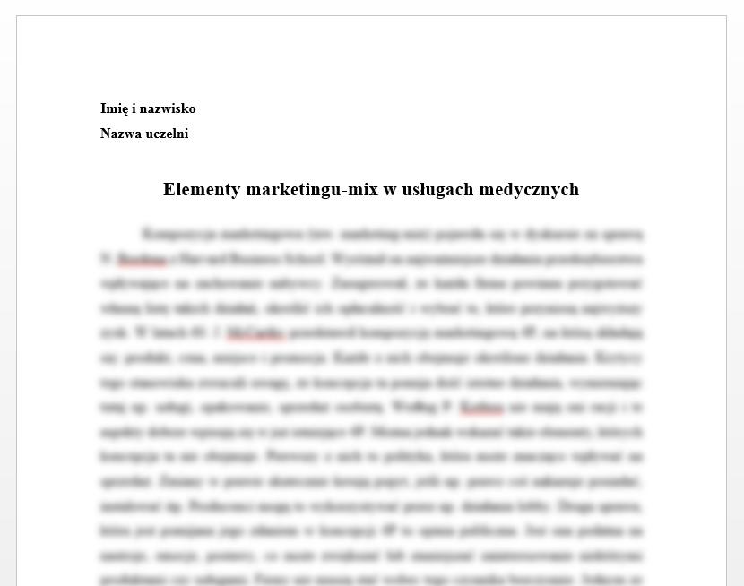 Esej: Elementy marketingu-mix w usługach medycznych