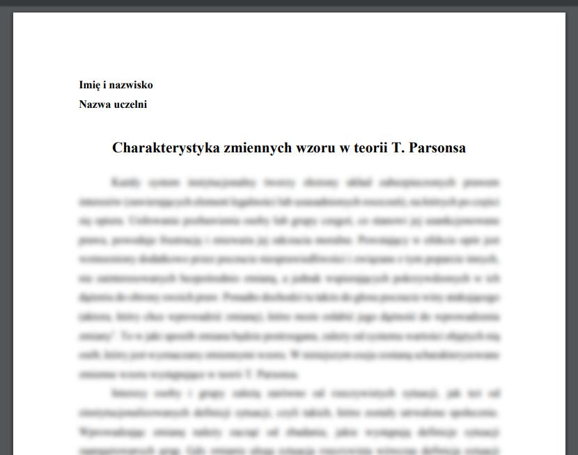 Charakterystyka zmiennych wzoru w teorii T. Parsonsa