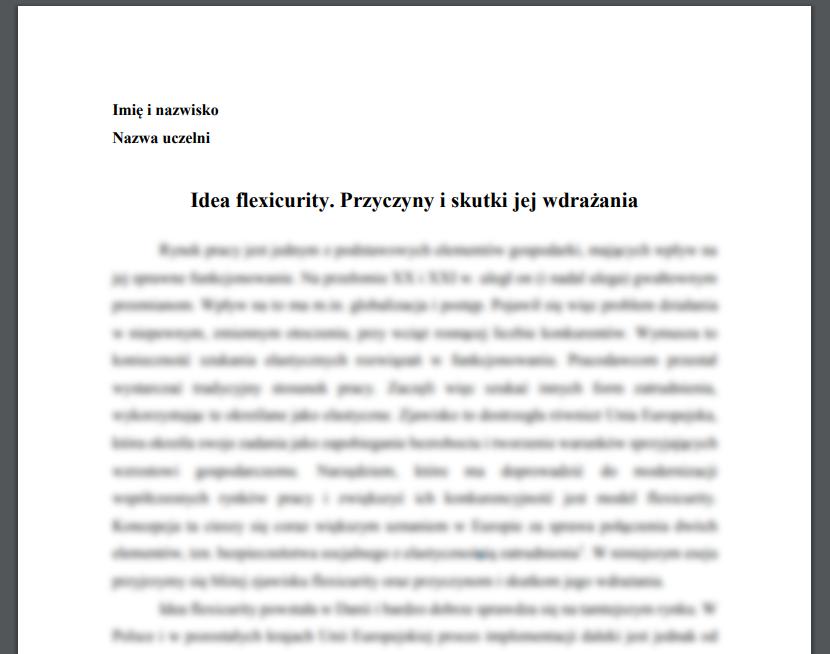Idea flexicurity. Przyczyny i skutki jej wdrażania