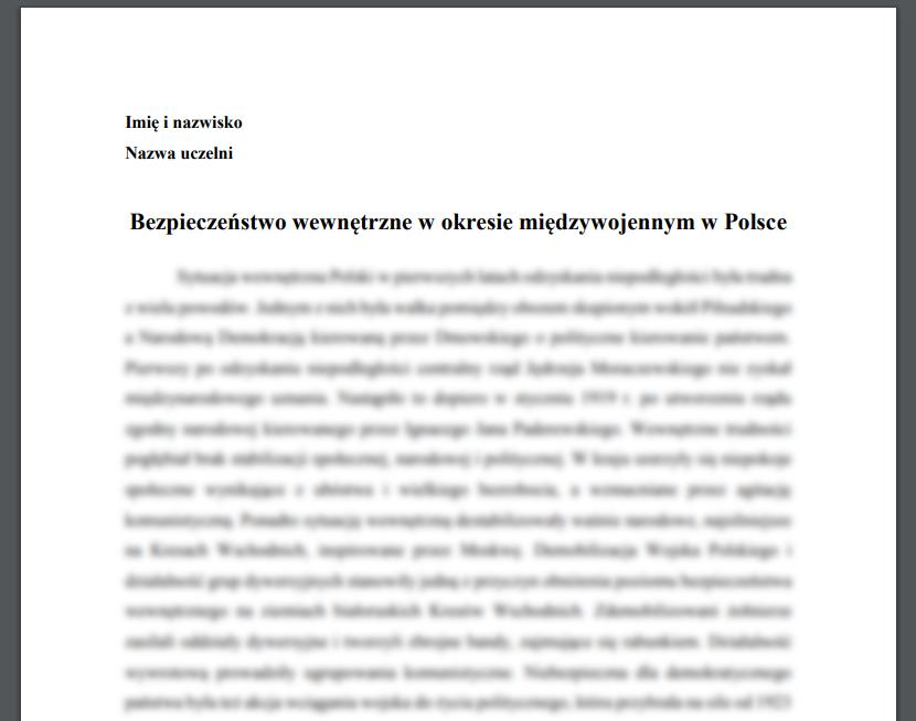 Bezpieczeństwo wewnętrzne w okresie międzywojennym w Polsce