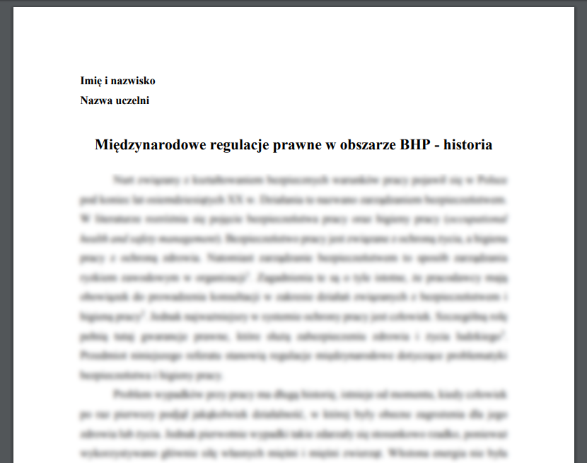 Międzynarodowe regulacje prawne w obszarze BHP - historia