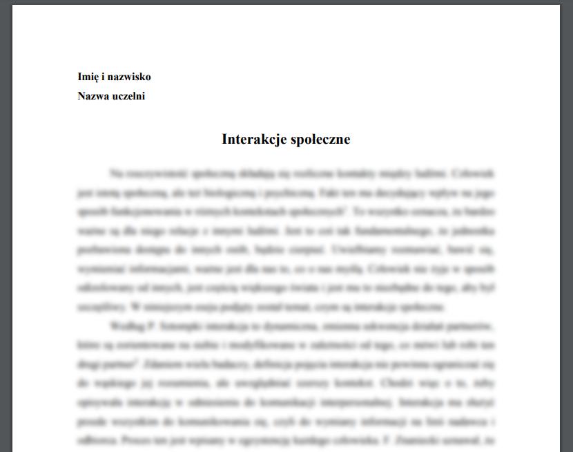 Esej: Interakcje społeczne