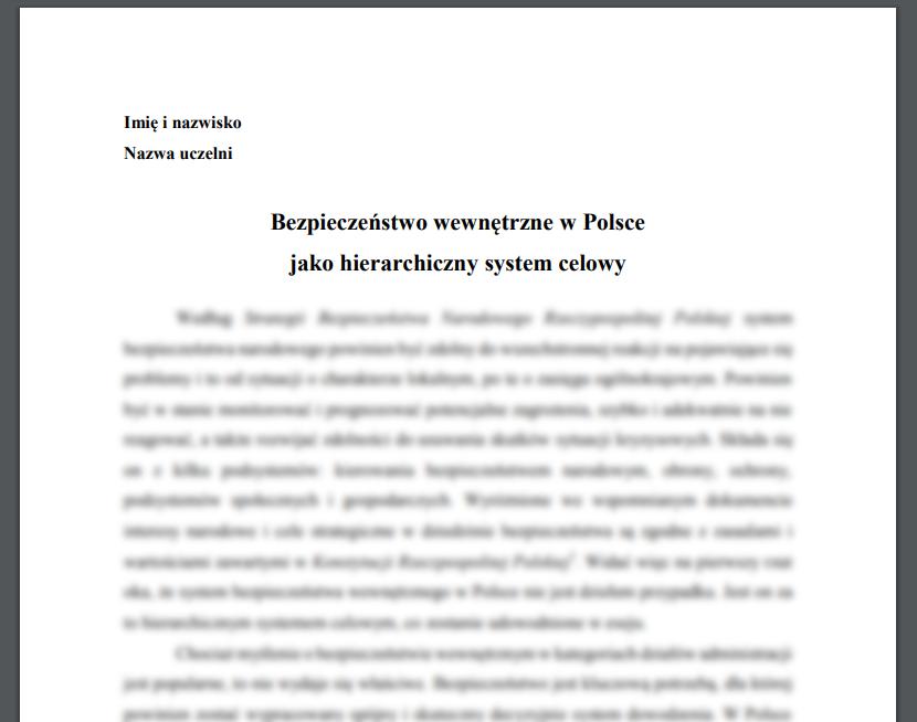 Esej: Bezpieczeństwo wewnętrzne w Polsce jako hierarchiczny system celowy