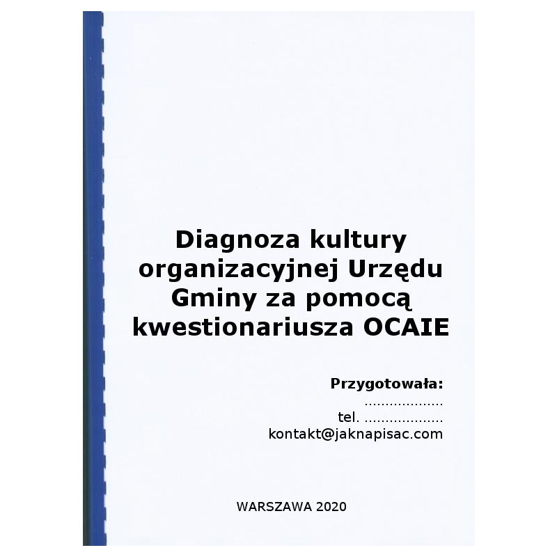 Diagnoza kultury organizacyjnej Urzędu Gminy za pomocą kwestionariusza OCAI