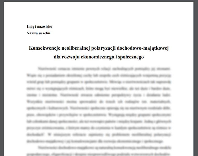 Konsekwencje neoliberalnej polaryzacji dochodowo-majątkowej dla rozwoju ekonomicznego i społecznego