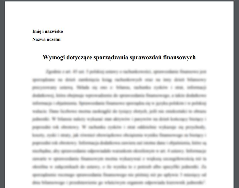 Wymogi dotyczące sporządzania sprawozdań finansowych