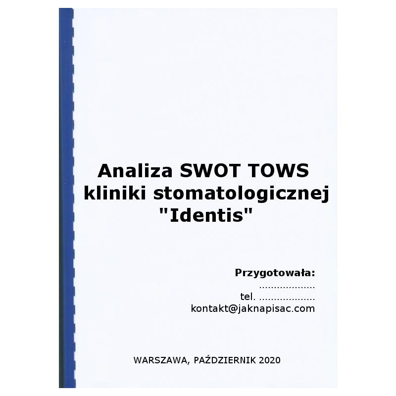 """Analiza SWOT TOWS kliniki stomatologicznej """"Identis"""""""
