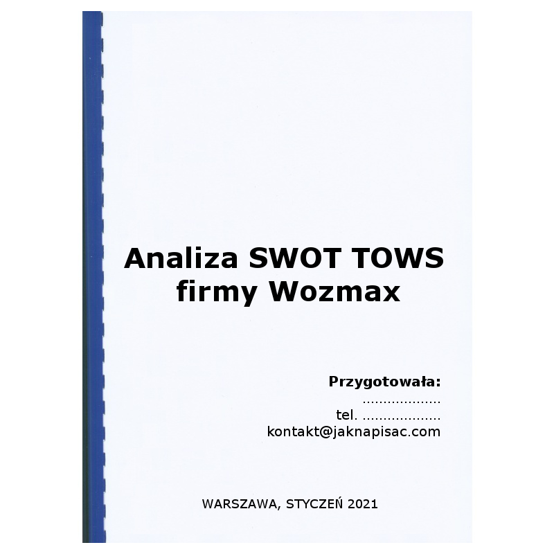 Analiza SWOT TOWS firmy Wozmax - wózki widłowe